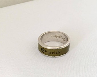 Vintage Italian PRIDE Sterling Silver Green Enamel Band Ring Size 11.5