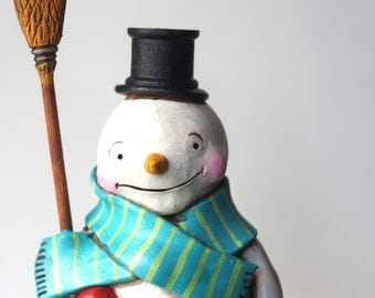 Let it Snow Snowman with Broom folk art sculpture from polymer clay
