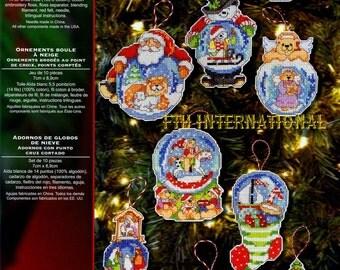 Bucilla Snow Globe ~ Christmas Ornaments Counted Cross Stitch Kit #86283, 10 Pcs DIY