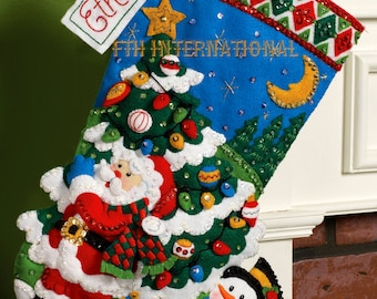 "Bucilla Tree Shopping ~ 18"" Felt Christmas Stocking Kit #86182, Santa, Snowman DIY"