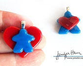 MEEPLE hearts! super cute meeple glass necklace made by Jenefer Ham