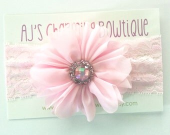 Light pink blossom flower headband