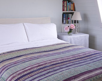 KANTHA THROW - Purple, green and beige. Reverse green design - Unique, one of a kind.