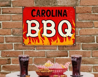 Carolina Style BBQ Barbecue Restaurant Sign - #56239