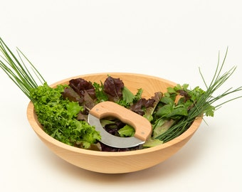 Large Wood Salad Bowl for Chopped Salads