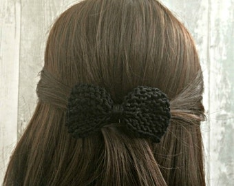Black Bow Hair Clip Barrette, Black Hair Bows for Women, Knit Hair Bow, Hair Bows for Teens, Hair Accessories for Women, Gifts for Teen
