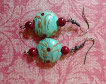 Teal With a Kiss Earrings