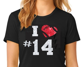Glitter Football Mom Tee with Red Glitter Heart and Player Number.  Ladies & Men's sizes  Ships in 1 to 3 days