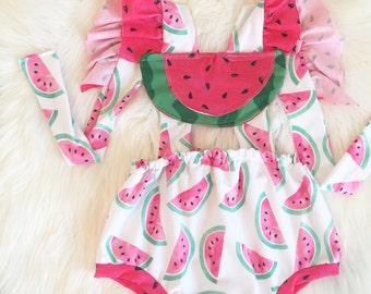 Watermelon Pinafore Romper Adjustable