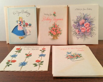 Vintage Birthday Greeting Cards. Unused Lot of 5 for Sister/Friend. Mid Century Craft and Scrapbooking Supplies. Paper Ephemera.
