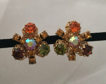 Vintage Austrian STAR Screwback Rhinestone Earrings