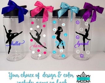 Personalized Dancer Water Bottle /Ballet/Lyrical/Jazz/Dancer Water Bottle with Name / Bulk Dance Team Gift/ Dance Coach Gift