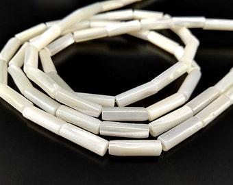 "Full Strand 16"" 13x4mm White Mother Of Pearl Round Tube Beads White Mop Tube Beads"