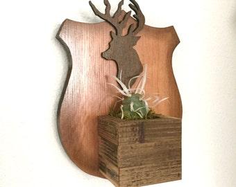 READY TO SHIP : Deer Head Crest Vertical Planter
