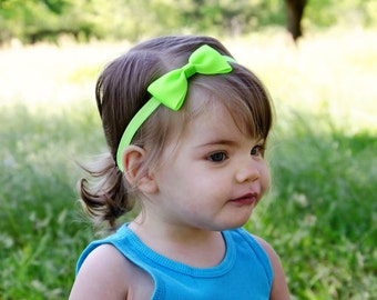 "Small 3.5"" neon lime green small hair bow on elastic headband"