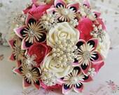 Paper Wedding bouquet flowers spiral rose colour pop bright vivid fun UP Disney theme rainbow alternative wedding confetti Hot pink