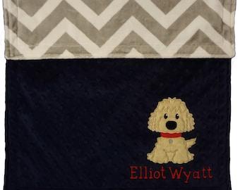 Personalized baby blanket- Puppy Baby Blanket- Chevron Grey & Navy Minky Baby Blanket- Nursery Blanket