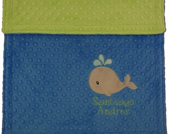 Whale Blanket- Personalized Whale Minky Blanket- Personalized Minky Blanket