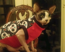 Sphynx Cat Clothing -  Flannel and Cotton Jersey sweater for Sphynx, Peterbalds, Cornish Rex and all short haired cats.