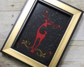 Elegant Reindeer Embroidery Art - Holiday Cheer -Christmas Decor - Wall Art - Elegant Christmas