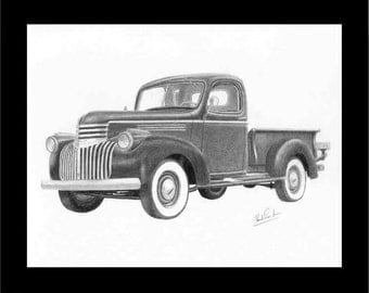 Pencil drawing of a 1941 Chevrolet pick up