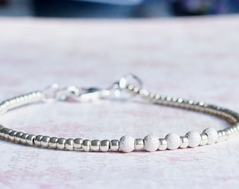 Silver Beads Bracelet, Seed Bead Bracelet, Stacking Bracelet, Simple Bracelet, Beaded Bracelet, Delicate Bracelet, Minimalist Bracelet