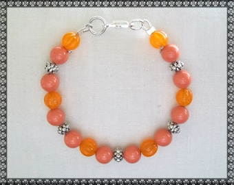 orange bracelet, Swarovski bracelet, orange. coral bracelet, coral, dark orange