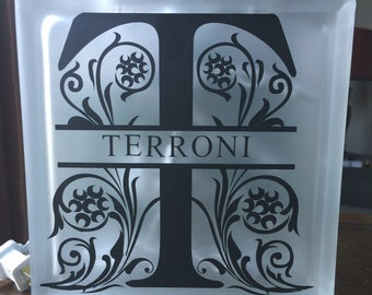 Monogram Glass Block Decal, Personalized Custom Decal, Last Name Vinyl Decal, Decal for DIY Glass Block