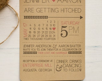 Rustic modern fun printed or printable wedding invitation with calendar style date and customizable colors, kraft paper printable invitation
