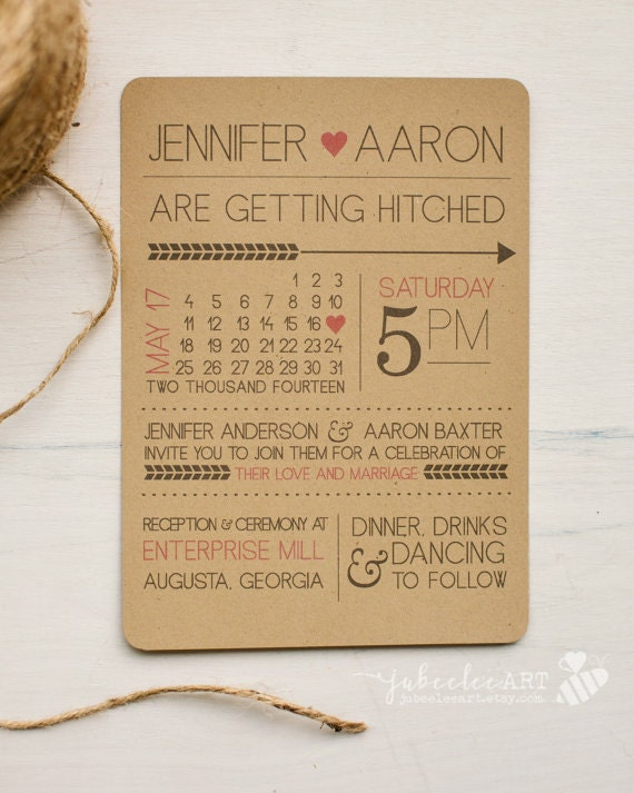 Rustic modern fun printed or printable wedding invitation with