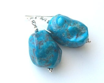 Turquoise Earrings, Turquoise Nugget Earrings, Turquoise Sterling Earrings
