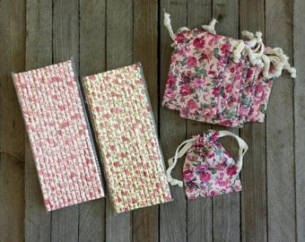 Vintage Floral Drawstring Bags- 12 Pack with Floral Paper Straws- 50 Pack Pink, Ivory, Yellow-  Jewelry Organization Supply, Party Supply