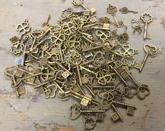 100 Key Embellishments, Scrapbooking/Crafting/Jewelry Supply, Love Key Charm