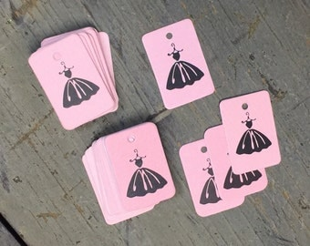 130 Mini Stamped Pink Tags, Gift Tags, Scrapbooking/Crafting Supply, Price Tags