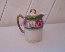 Pink roses floral creamer, ornate decorative, hand painted, gold filigree, porcelain creamer