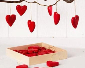 Scandinavian Red Heart Wooden Ornaments Box of 24  #7283