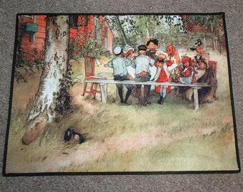 Scandinavian Swedish Carl Larsson Breakfast Under the Big Birch Rug ~ Door Mat #153