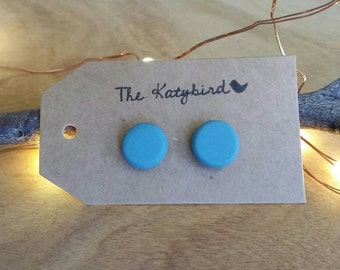 Hot studs- polymer clay earrings in soft turquoise