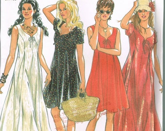 Size 8-18 Misses' Dress Sewing Pattern - Sweetheart Neckline Dress -  Pleat Front Tie Back Dress Pattern - Sleeveless Dress - New Look 6224