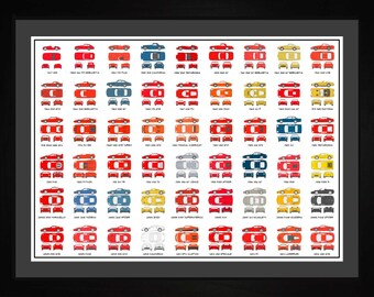 Ferrari Auto Collection Drawing Art Car 308 Berlinetta GTO 512 458 Gift AAUDI1824