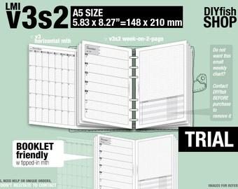 Trial [A5 v3s2 w/o daily] November to December 2017 - Filofax Inserts Refills Printable Binder Planner Midori.