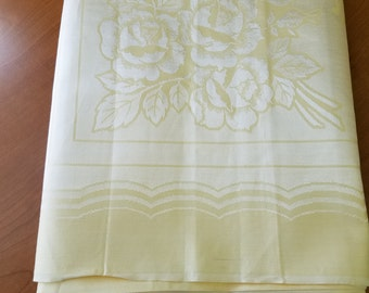 Vintage Yellow Damask Tablecloth #D17