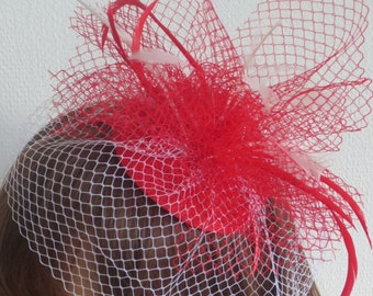 Red and white veiling fascinator, Wedding,party.