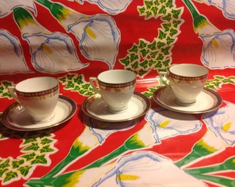 Vintage set of 3 Schlaggenwald China demitasse cup and saucers with gold and navy blue designs