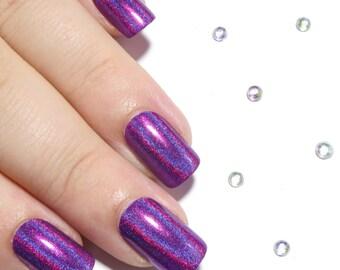 Fake Nails - Holographic Nails - Square Press On Nails - Purple Holo Nails - Hologram Nails - False Nail Set - Short Purple Glue On Nails