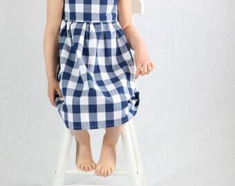 Girls Flutter Sleeve Dress- Picnic blue and white gingham