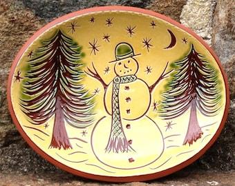 Snowman Bowl - Pennsylvania Redware -  SG457