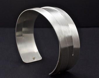 Sterling Silver Cuff Bracelet,  Woven Cuff, Riveted Cuff, Mens Cuff, Art Metal Cuff, 18K Gold Rivets, Artisan Cuff, Matte Silver Cuff