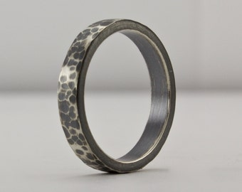 Hammered Sterling Silver Ring, Oxidized Sterling, Textured Ring, Wedding Band, Unique Ring, Rustic Ring, Classic Hammered Ring, Artisan