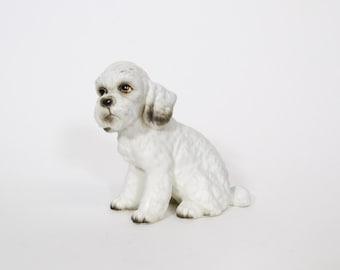 Vintage White Fluffy Poodle Dog Figurine